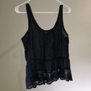 Sheer black lace tank top - Abercrombie & Fitch